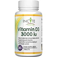 Vitamin D 3 3000iu Supplements - 365 Days (One Year) Supply Of High StrengthVitamin D Tablets -High Absorption Cholecalciferol Vit D3 –Does not contain Gluten or Dairy