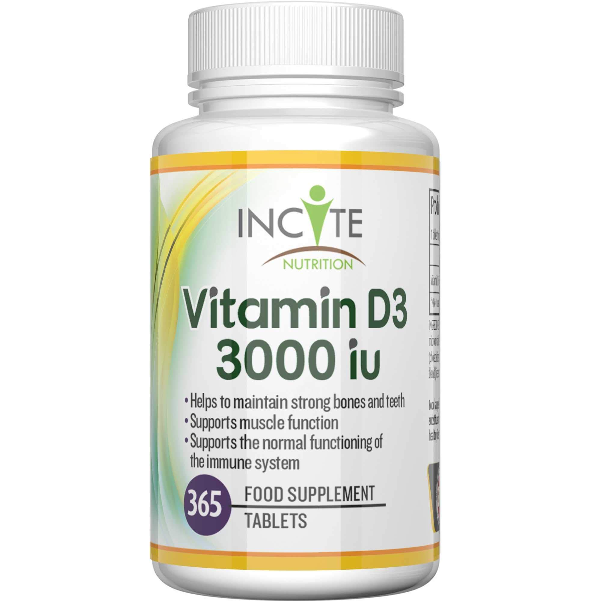 Vitamin D 3 3000iu Supplements - 365 Days (One Year) Supply Of High Strength Vitamin D Tablets - High Absorption Cholecalciferol Vit D3 – Does not contain Gluten or Dairy product image