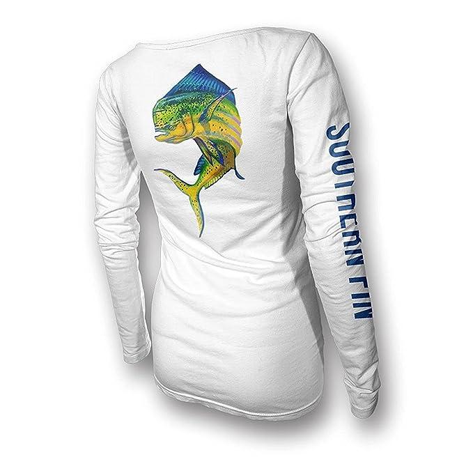 Southern Fin Apparel Sur de Fin de Vestir para Mujer Rendimiento Camiseta de Pesca de Las