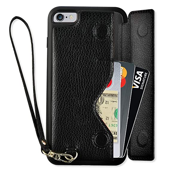 sports shoes ca1f9 c743b iPhone 6 Plus Wallet Case, iPhone 6 Plus Card Holder Case, ZVEdeng iPhone 6  Plus Flip Case with Wrist Strap, iPhone 6 Plus Case with Credit Card Slot  ...