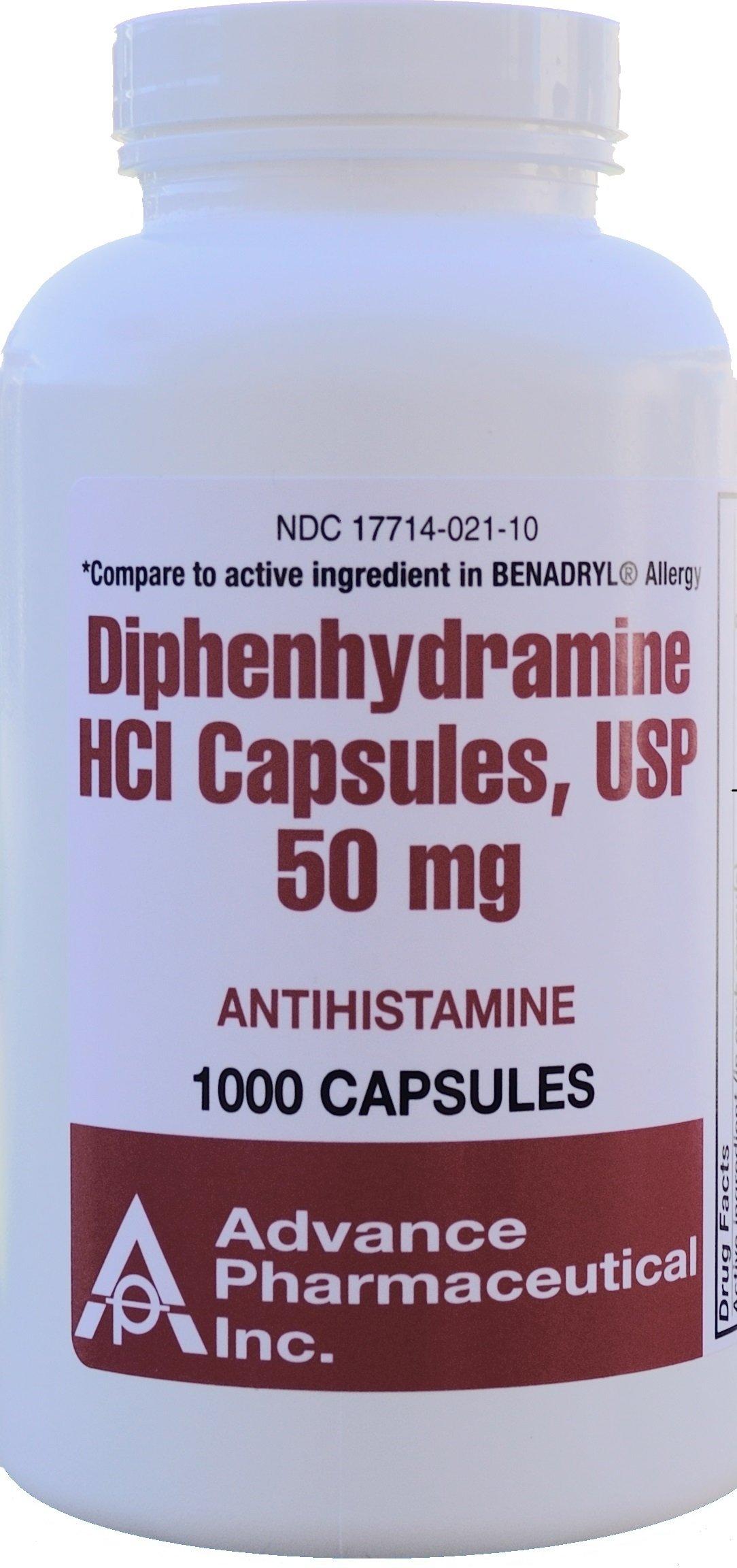 Diphenhydramine HCI 50 mg Allergy Medicine and Antihistamine Generic for Benadryl Allergy 1000 Capsules per Bottle