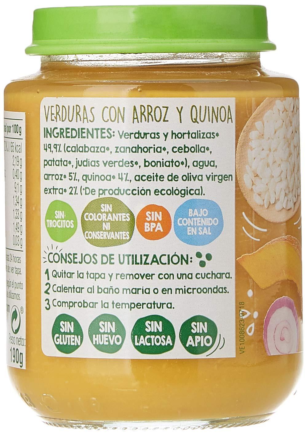 VegeBaby - Potito de fruta para bebé (Verdura, Arroz y Quínoa) 8 x ...