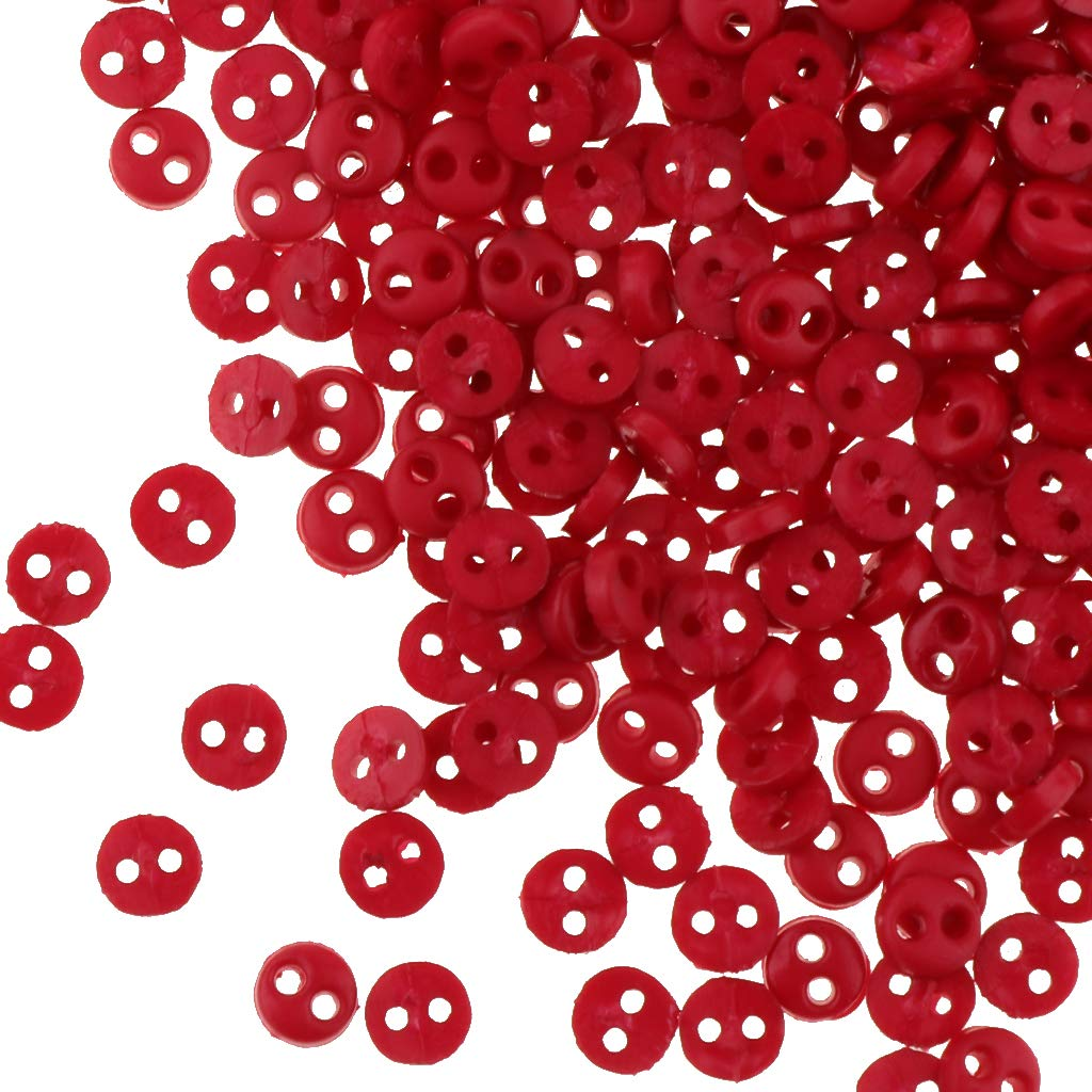 Pack of 300pcs Red 4mm Resin Buttons Doll DIY Clothing Embellishment Buttons
