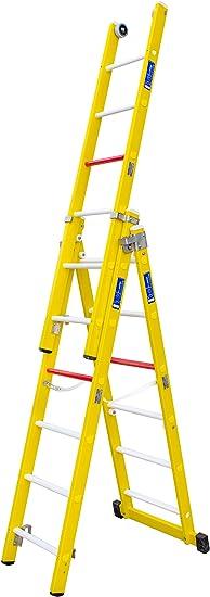 Escalera transformable de tres tramos de fibra de vidrio. Permite su uso en tijera con un tramo extensible y totalmente desplegada. Según norma UNE-EN 131. (3 tramos x 9 peldaños): Amazon.es: Bricolaje