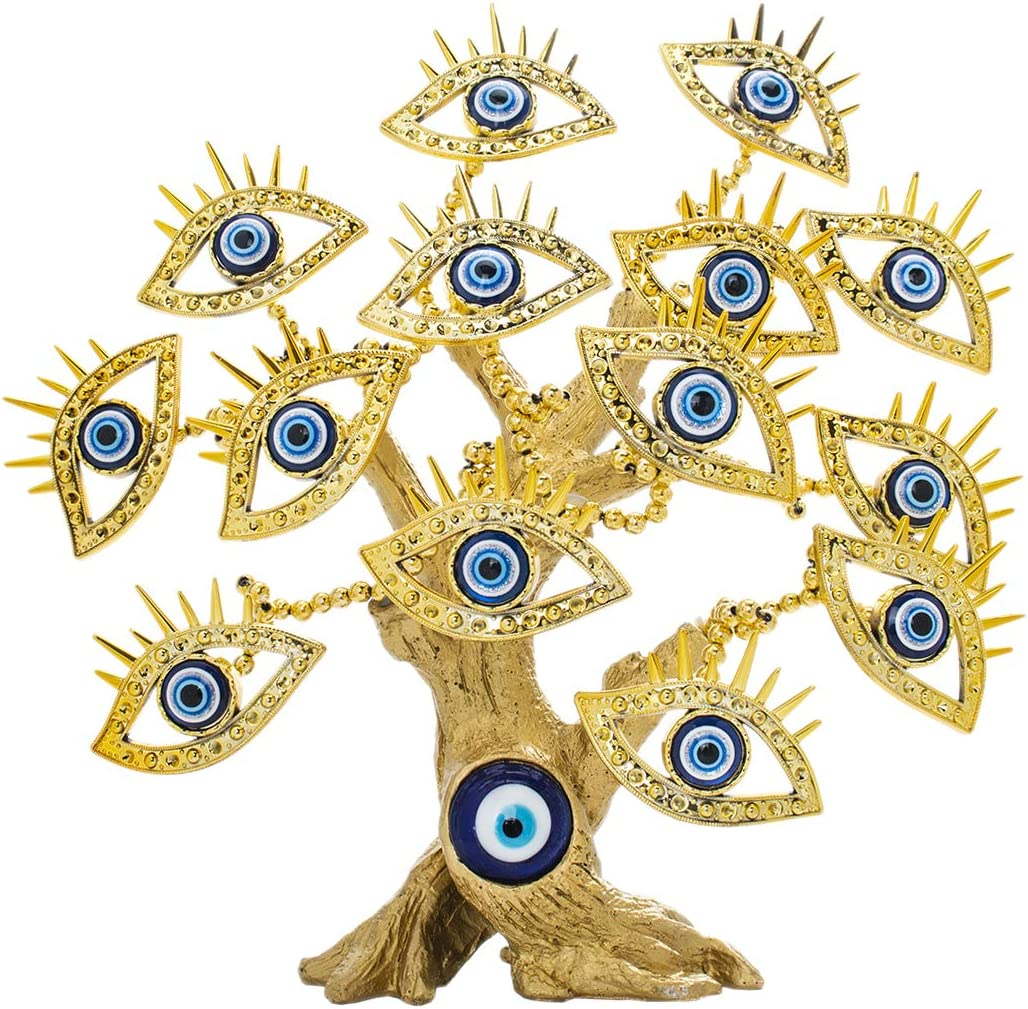 YU FENG Lucky Money and Large Evil Eye Tree Statue with 14 Turkish Blue Evil Eyes Figurines Home Decor Ornaments
