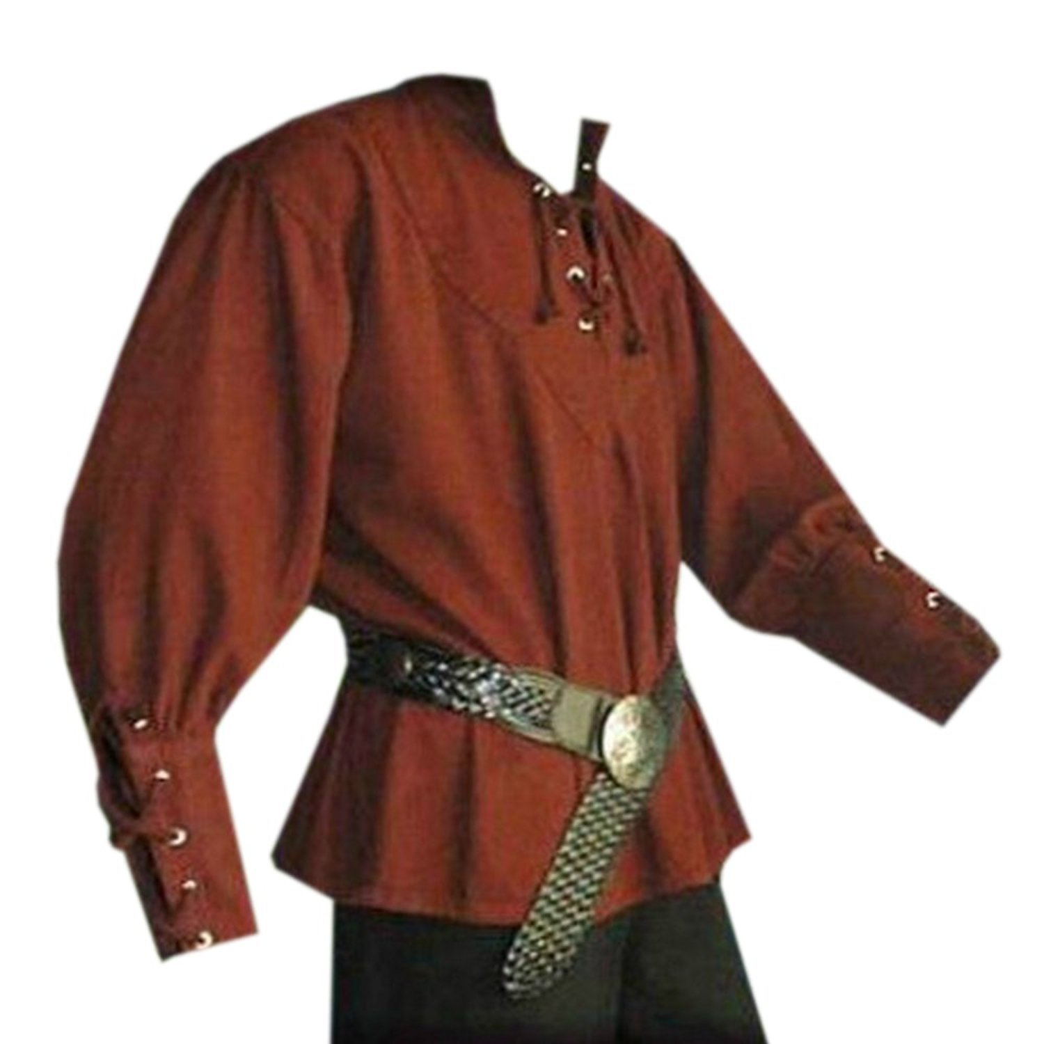 Pengfei Mens Medieval Pirate Lace Up Renaissance Costume Mercenary Scottish Wide Cuff Coats