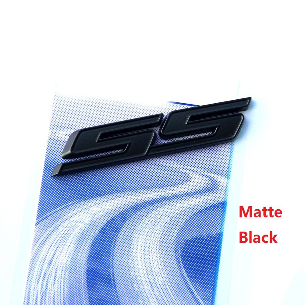 Sanucar 1pc OEM Black SS Emblem 3D Badge Decal for Camaro SS Chevy SIERRA Flat Matte