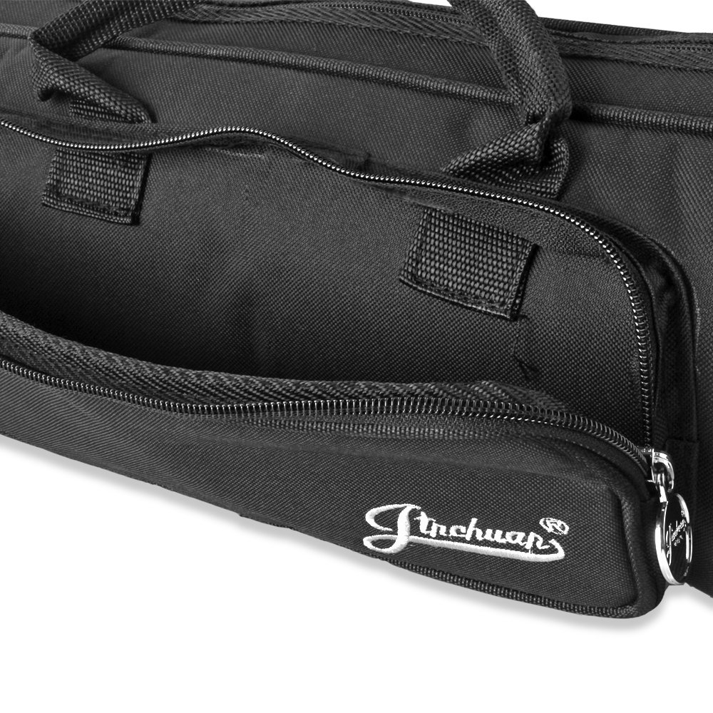 Flexzion Senior Trumpet Gig Bag Case Durable Soft Nylon Padded Portable Instrument Accessory with Double Zippers and Adjustable Shoulder Strap in Black by Flexzion (Image #4)