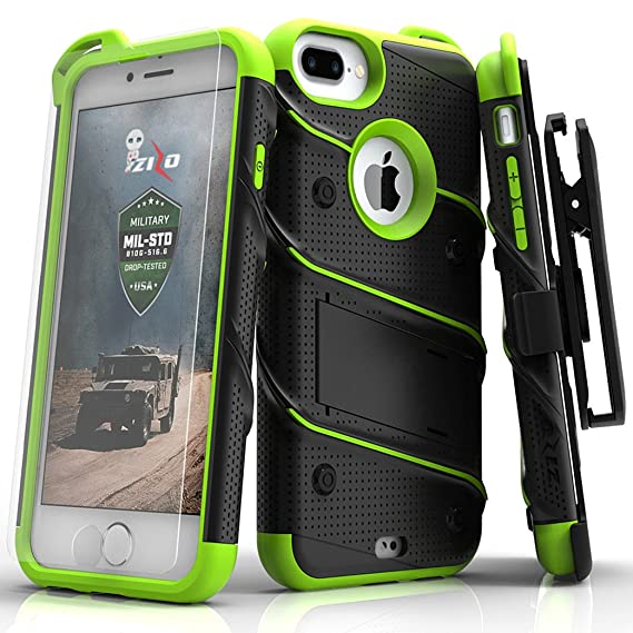 separation shoes c1a38 eef09 Zizo Bolt Series Compatible with iPhone 8 Plus Case Military Grade Drop  Tested Tempered Glass Screen Protector Holster iPhone 7 Plus case NEON Green