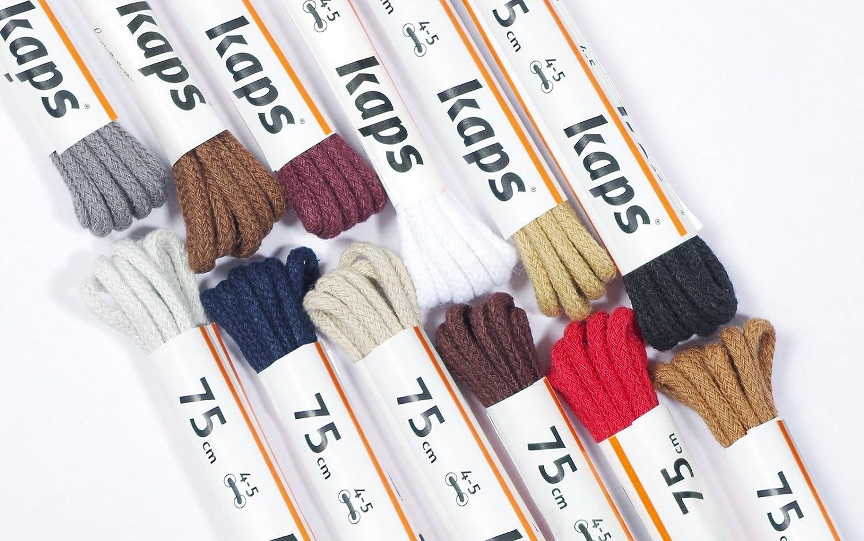 Kaps Lacets minces rondes fabriqu/és en Europe lacets 100/% coton de qualit/é pour chaussures d/écontract/ées et mode 1 paire plusieurs couleurs et longueurs