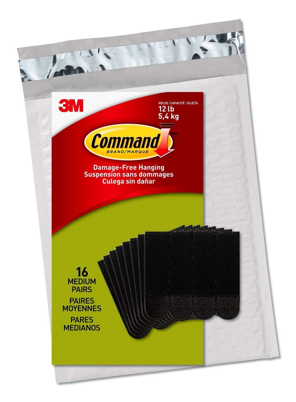 Command 17201BLK-C Picture Hanging Strips, Medium, Black, 4 Pairs 3M