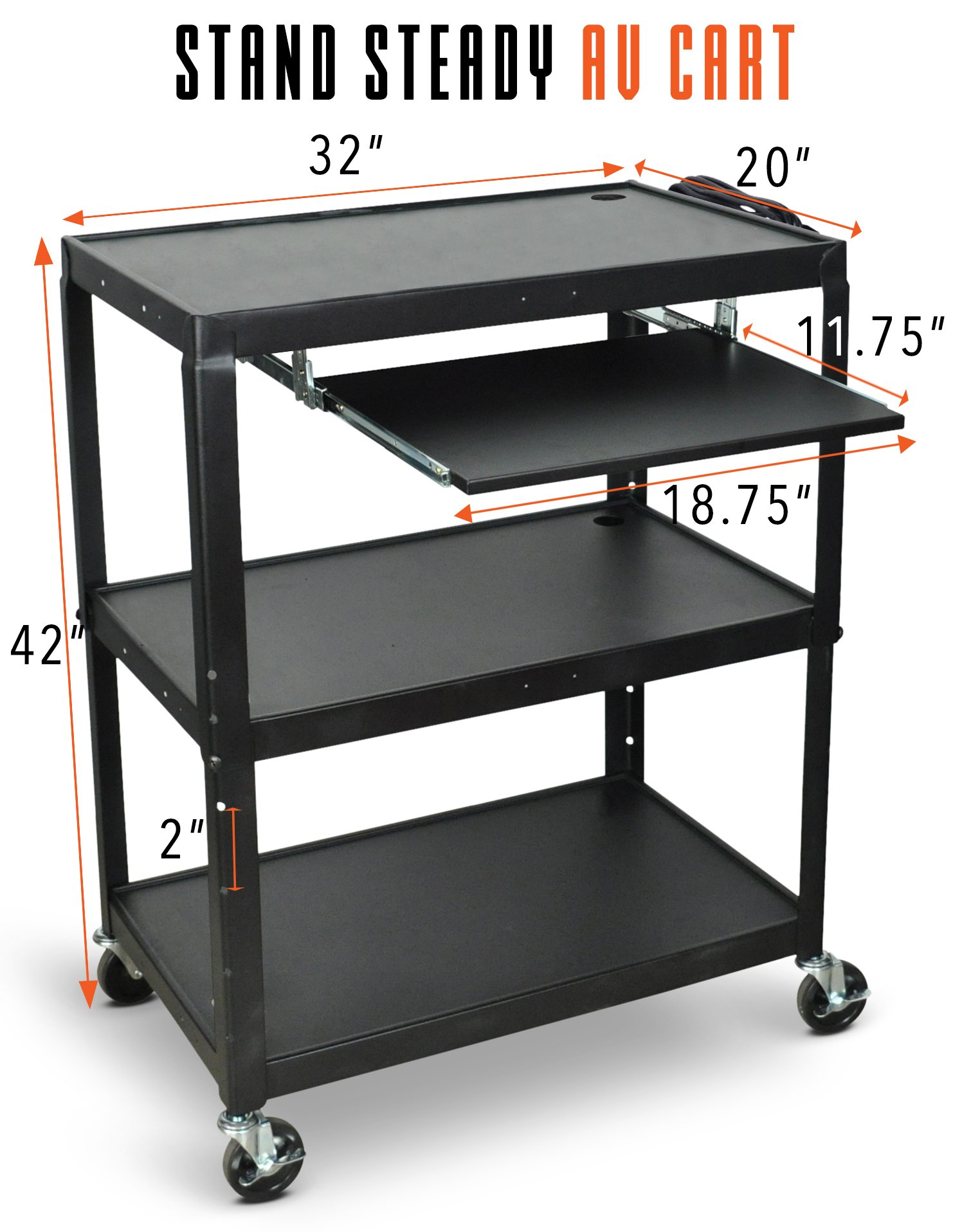 Line Leader Extra Wide AV Cart with Lockable Wheels -Adjustable Shelf Height- Includes Pullout Keyboard Tray and Cord Management! (42x32x20) (Extra Wide AV Cart - Black) by Stand Steady (Image #5)
