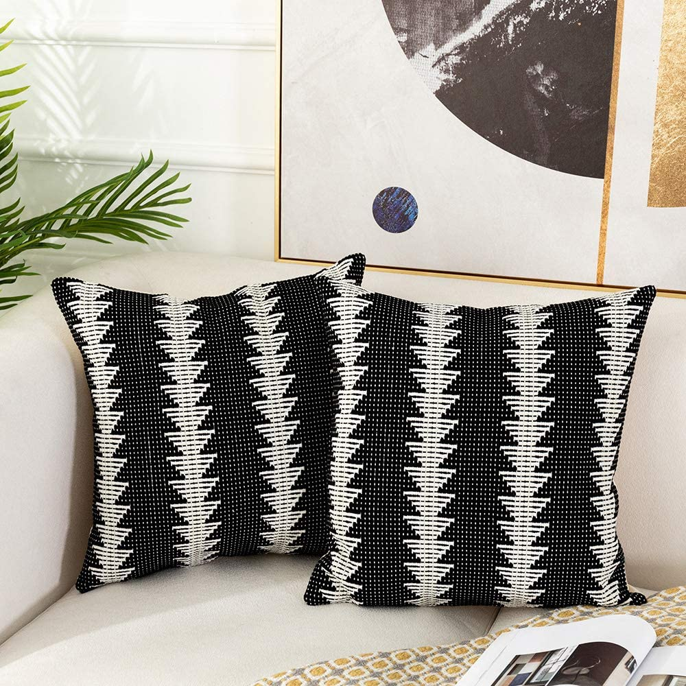 Tiffasea Set of 2 Farmhouse Throw Pillow Covers, Black and White Pillow Cases Woven Decorative Cushion Covers Cotton Mudcloth Pillow Shams for Couch Sofa Living Room Decor (18x18 inch, Small Tree)