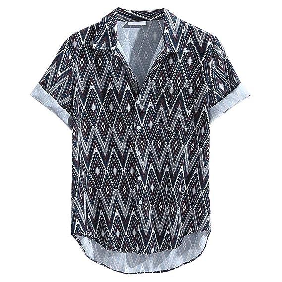 Camisa Hawaiana Señores Manga Corta Bolsillo Delantero Impresión ...