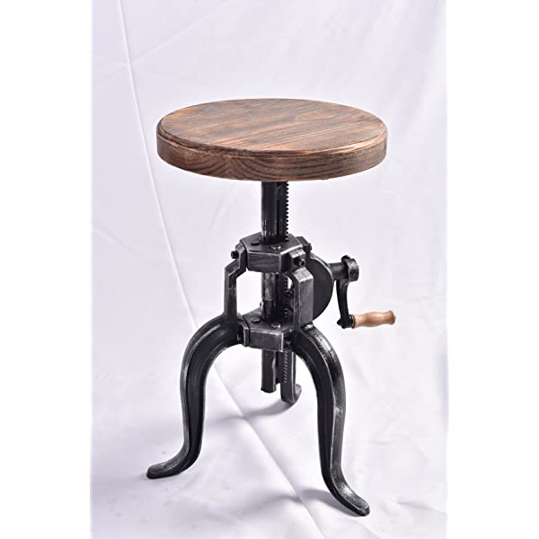 Topower American Antique Industrial DIY Crank Stool Cast Iron Three-Legged Chair Bar Stool (01#, Wood)