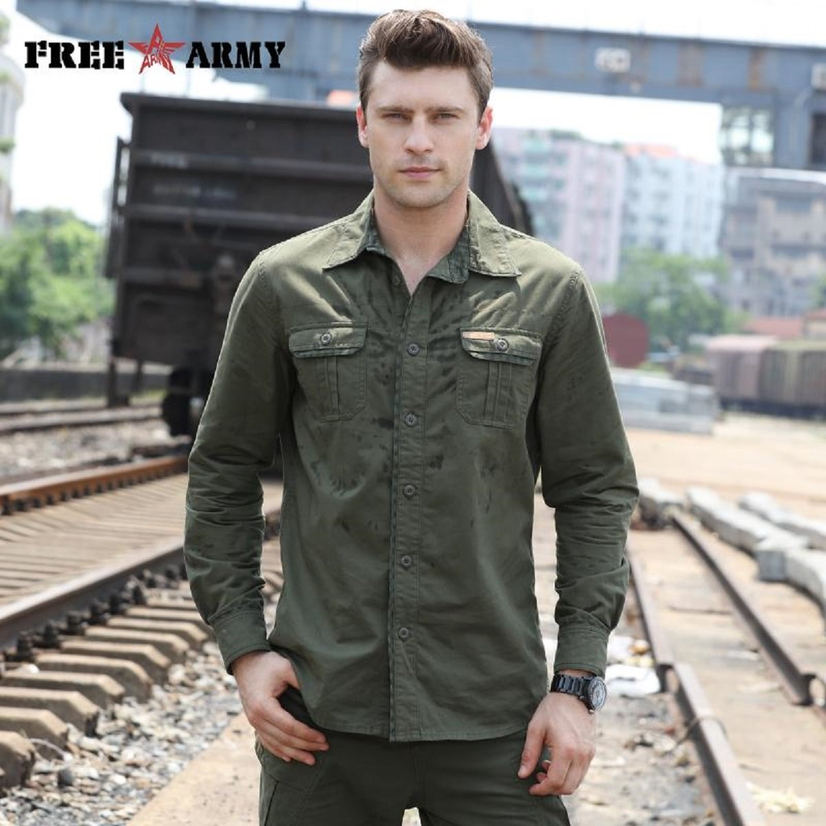 Slim Fit FREE ARMY Casual Long Sleeve Army Green