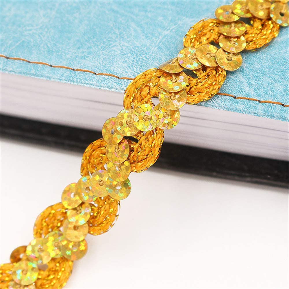 Strhopelove Paillettenband 25m 1.5cm Farbiges Glitzer DIY Gl/änzendes Borten Rolle Handwerk Hochzeit Kost/üm Brautschmuck Beige
