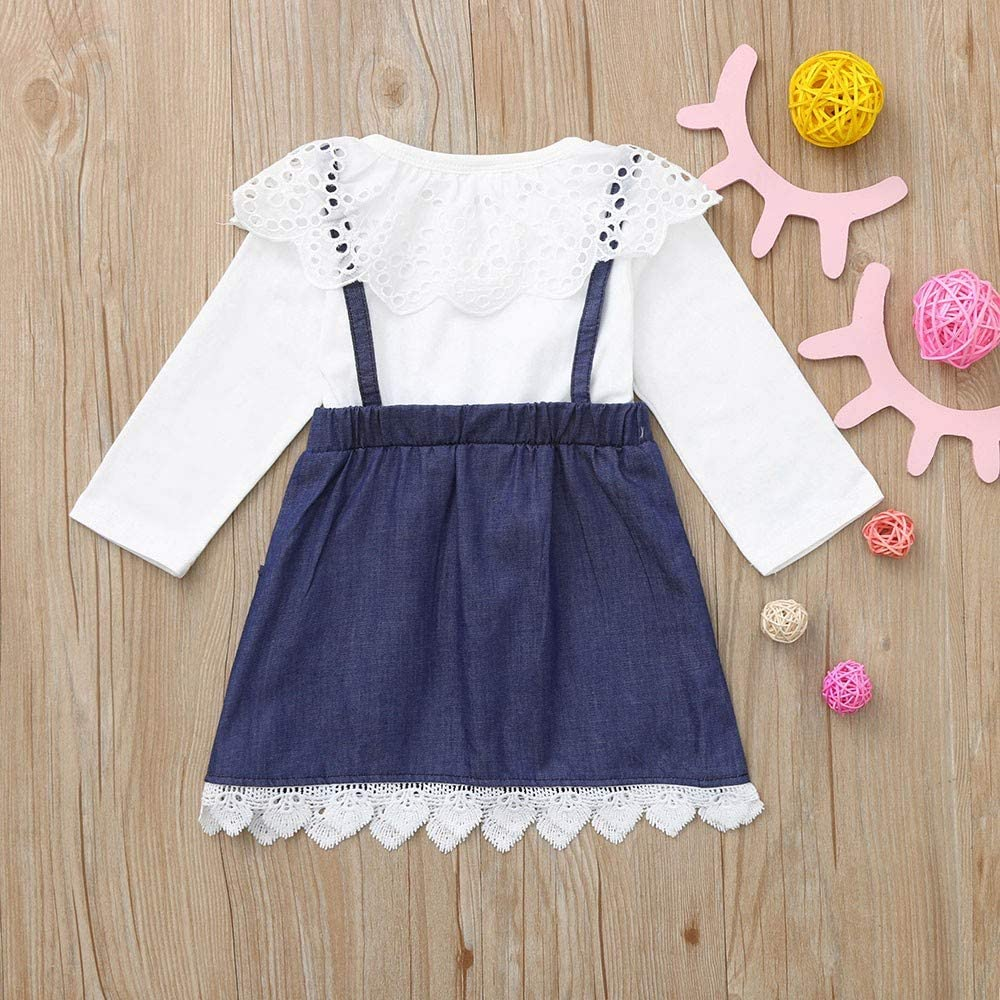 Kids Baby Girls Princess Sling Lace Off Shoulder Top+Ruffle Denim Skirt Outfits
