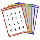 Dry Erase Pocket Sleeves, Write and Wipe Reusable Plastic Sheet Protectors for Office Learning Classroom Organization & Teaching Supplies (Assorted Colors Pack of 6)