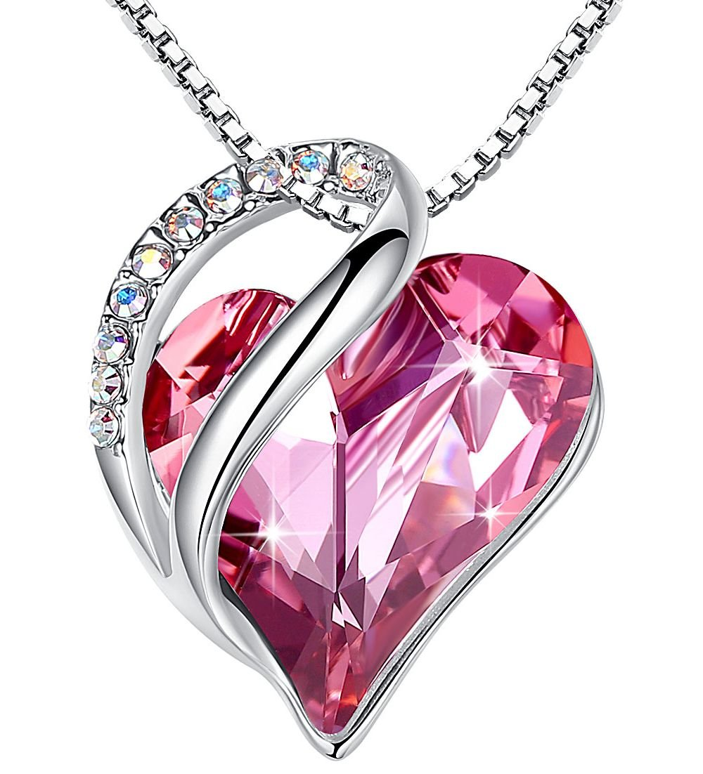 Leafael''Infinity Love'' Heart Pendant Necklace Made with Swarovski Crystals Hot Rose Pink October Birthstone Jewelry Gifts for Women, Silver-tone, 18''+2'', Presented by Miss New York by Leafael