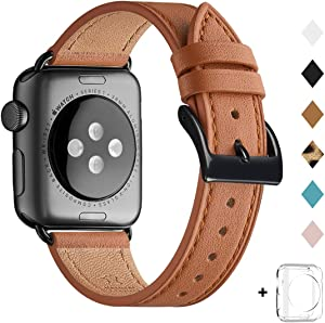 Bestig Band Compatible for Apple Watch 38mm 40mm 42mm 44mm, Genuine Leather Replacement Strap for iWatch Series 6 SE 5 4 3 2 1, Sports & Edition(Brown Band+Black Adapter 38mm 40mm)