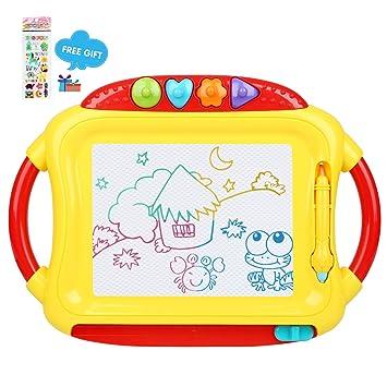 Ardoise magique Peradix Tableau Magnétique écran éducatif pour création  originale enfant et bébé avec 4 modèles et un stylo (Rouge-Jaune)