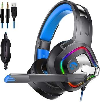 Z&HA Auriculares Gaming para PS4 o PC, Cascos Gaming ps4 con Microfono y Luz LED,Auriculares de Diadema con Sonido Envolvente y Cancelacion Ruido Headset para PS4 Nintendo Switch Xbox One Móvil: Amazon.es: