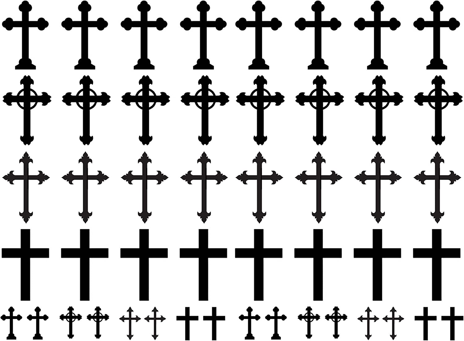 Crosses 1//2 to 1-1//16 Black 14CC430 Fused Glass Decals