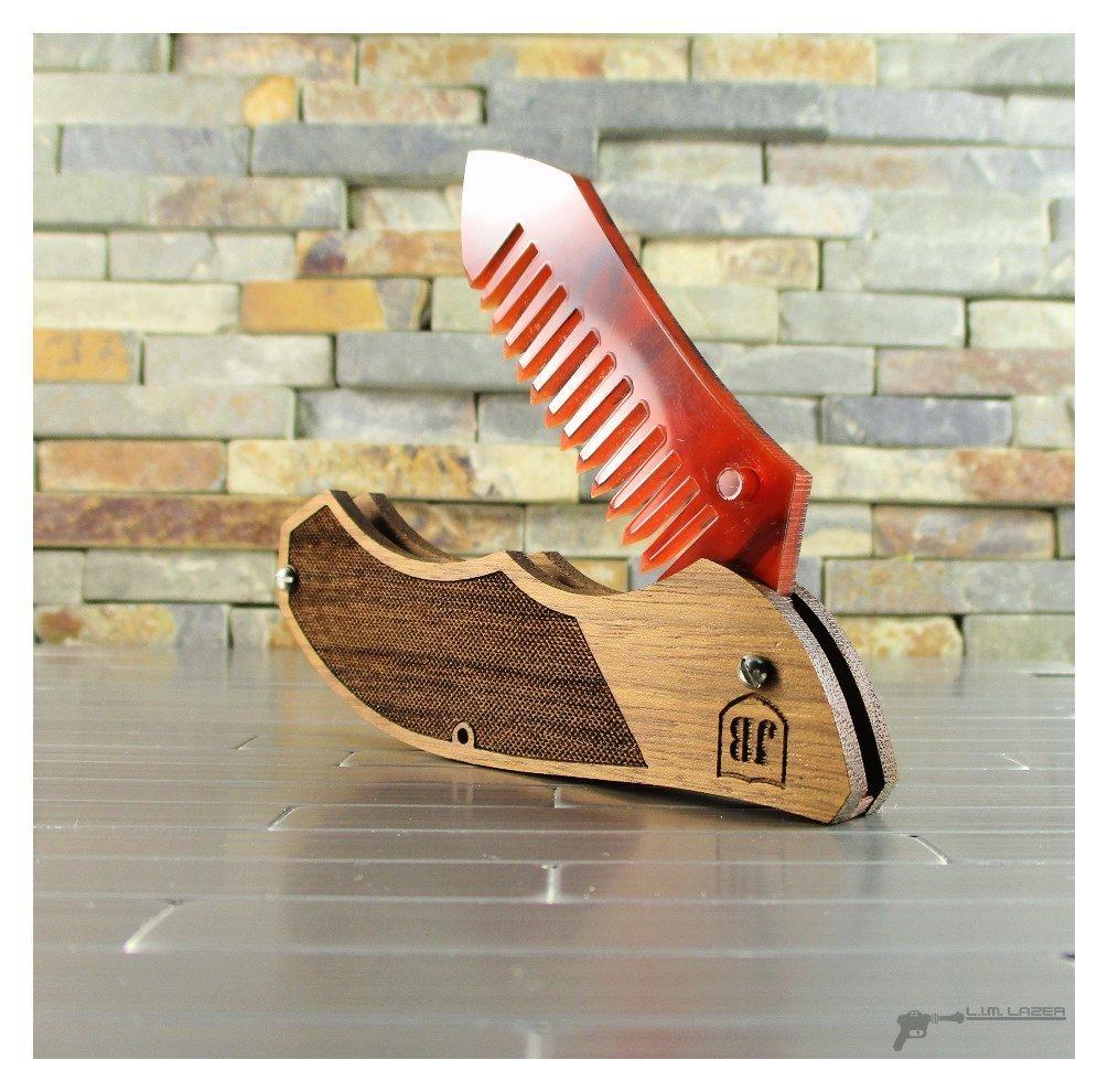 Tactical Knife, Folding Beard Comb, Wood and Bamboo