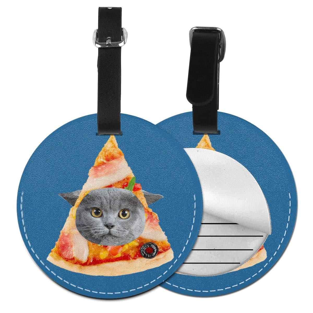 1pcs,2pcs,4pcs Terrible Fat Kitty Fish Pizza Cat Pet Pu Leather Double Sides Print Round Luggage Tag Mutilple Packs
