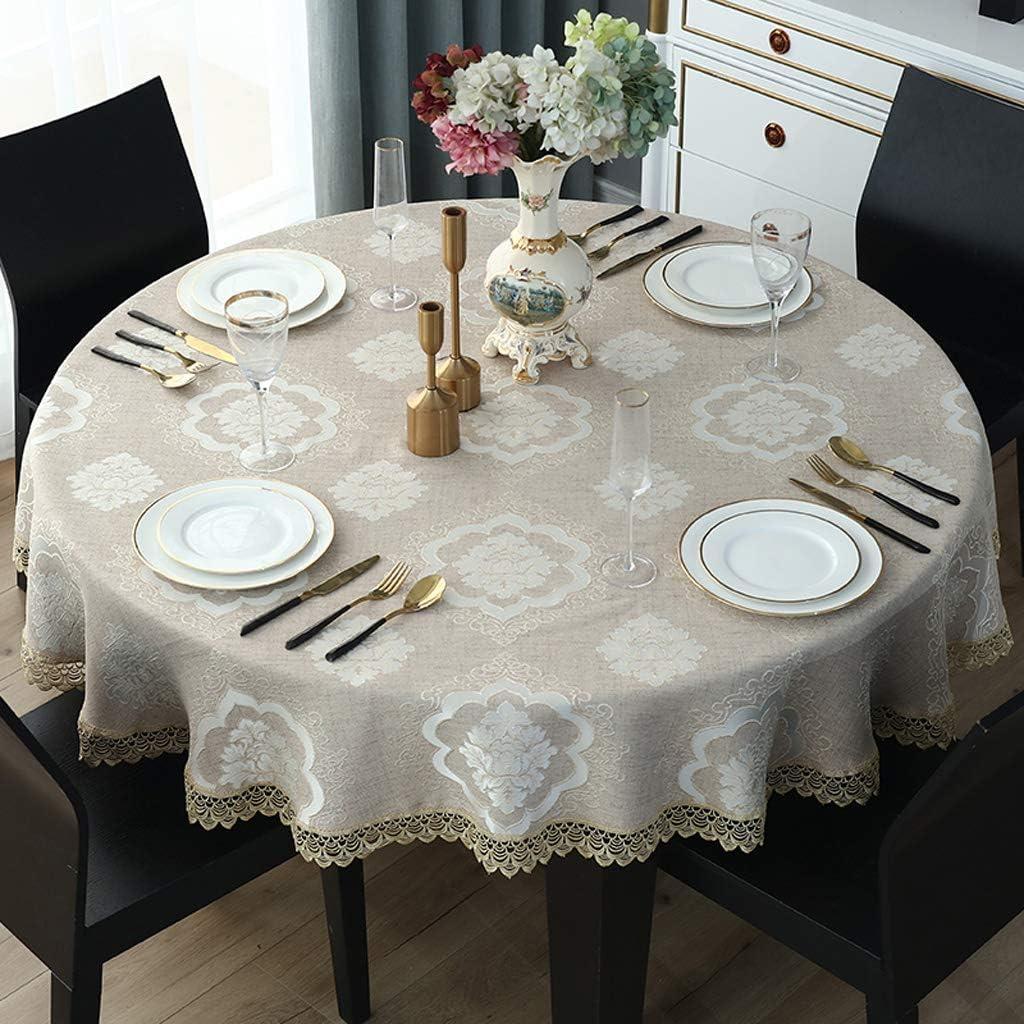 Mantel respetuoso con el medio ambiente,hermoso,antiincrustante,resistente a los arañazos,fácil de limpiar,encaje minimalista europeo,arte de mantel redondo grande,hotel de mesa de comedor en casa: Amazon.es: Hogar