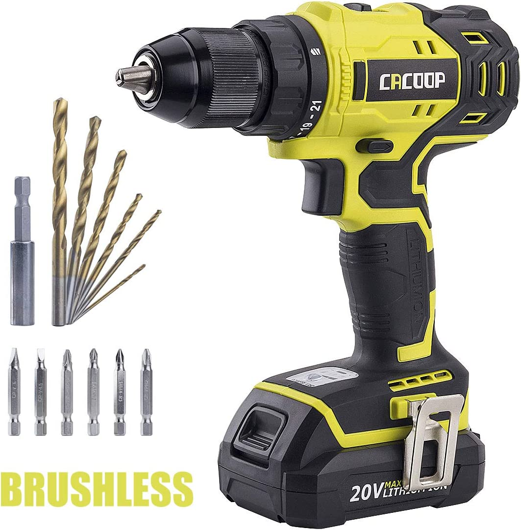 Cacoop Cordless Drill Driver Set, 20V Brushless Compact Drill with Lithium-ion Battery and Charger, 1 2 inch Keyless Chuck, 2 Variable Speed, for Home DIY Wood Drilling
