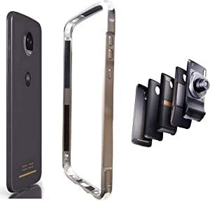Moto Z4 Case,Aluminum Bumper Frame Cover Compatible with Moto Mods Moto Hasselblad True Zoom Camera 5g Mod Power Pack Battery Moto Style Shell Wireless Charger Slim Fit Motorola Moto Z4(Silver)