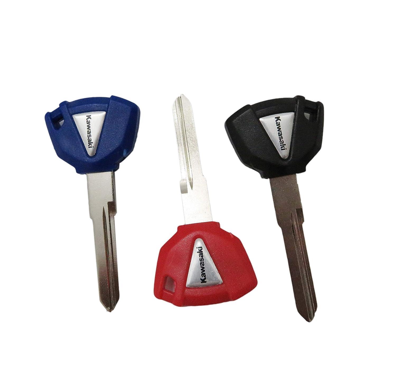 XSPANDER 3pcs Blank Blade Motorcycle Uncut Key Keychain for Kawasaki 3 Colors