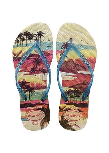 Havaianas Damen Flip Flops Slim Paisage Grösse 37/38 EU (35/36 Brazilian) Beige/Blau Zehentrenner für Frauen RTxkV