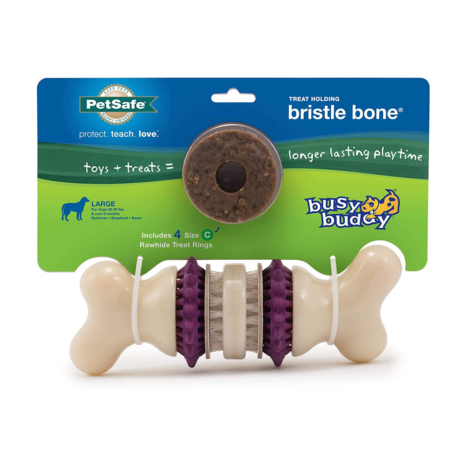 PetSafe Busy Buddy Bristle Bone Chew Toy for Dogs � Strong Chewers � Helps Clean Teeth � Extra Small, Small, Medium, Large