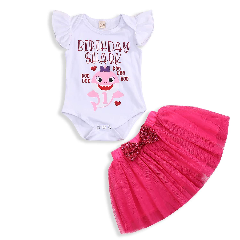 Tutu Bow Skirt Summer Dresses Outfits Baby Girls Birthday Shark Skirt Sets Toddler Kids Shorts Sleeve Romper