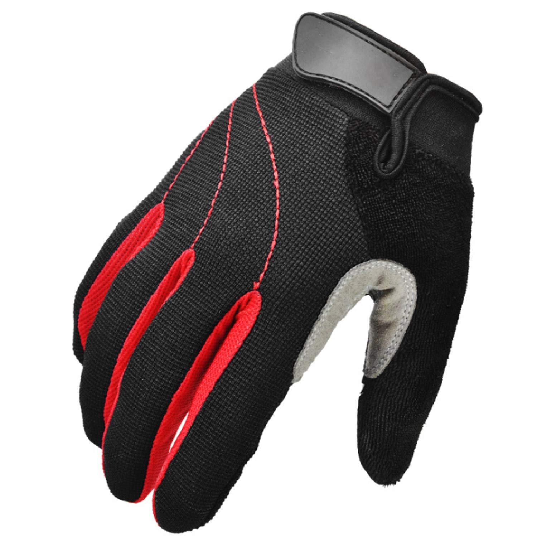 JIALUN-Gants Gants de Cyclisme Wide Finger Men avec Mousse Antichoc Protection pour vélo de Route et de Montagne (Color : Red)