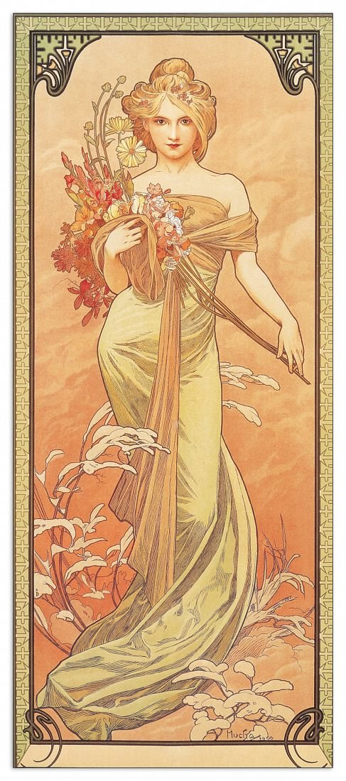 Artopweb Pannelli Decorativi Mucha Printemps 1900 Quadro, Legno,, 19x1.8x43 cm Eclissi EC17026 stampe; quadri
