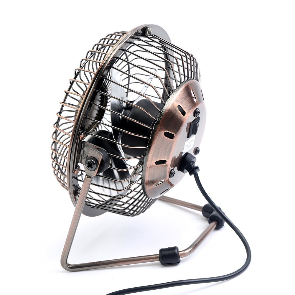 GLAMOURIC Small USB Desk Fan Mini Metal Personal Fan Retro Design Electric Portable Air Circulator Angle Adjustable Quiet Operation for Table Desktop Home Office Travel (Copper) by GLAMOURIC (Image #2)