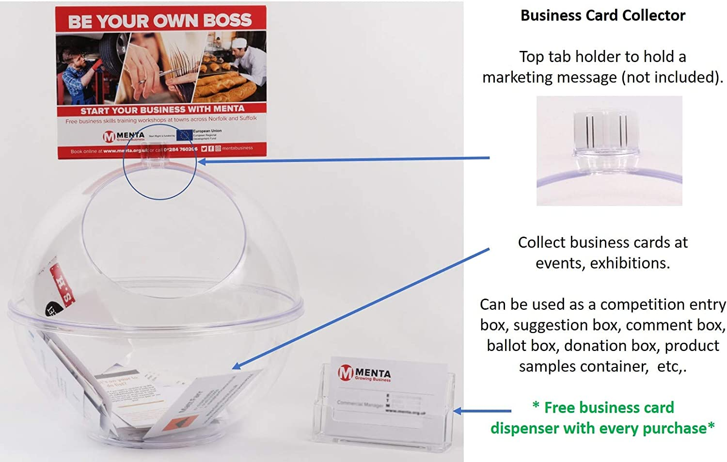 Sweets Dispenser Plus Business Card Holder Suggestion Box Business Card Collector 100/% Recyclable Exhibition Competition Box Donation Box Ballot Box