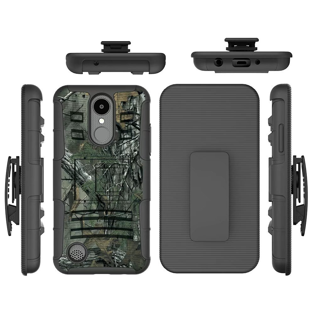 LG Phoenix 3 Case, LG Fortune/LG LV1 / Risio 2 / K4 2017 Case, FOLICE Hybrid Full-Body Protective Case Cover with Kickstand & Belt Clip Holster Combo for LG K4 2017 (CAMO)