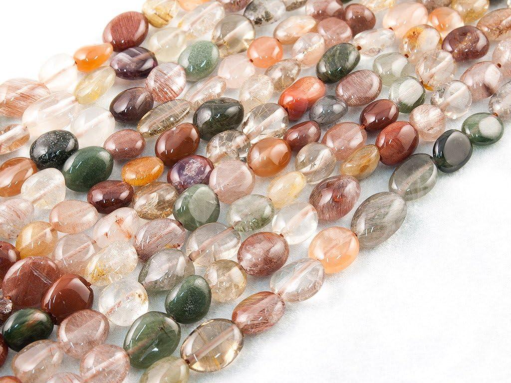 Beads Ok, Cuarzo Rutilado, Color Mezclado, Genuino, Naturales, 7-10mm, Abalorio, Cuenta, Mostacilla o Chaquira De Piedra, Llano Guijarro/Nugget~40cm; Rutilated Quartz, Mixed Colour, Pebble Bead