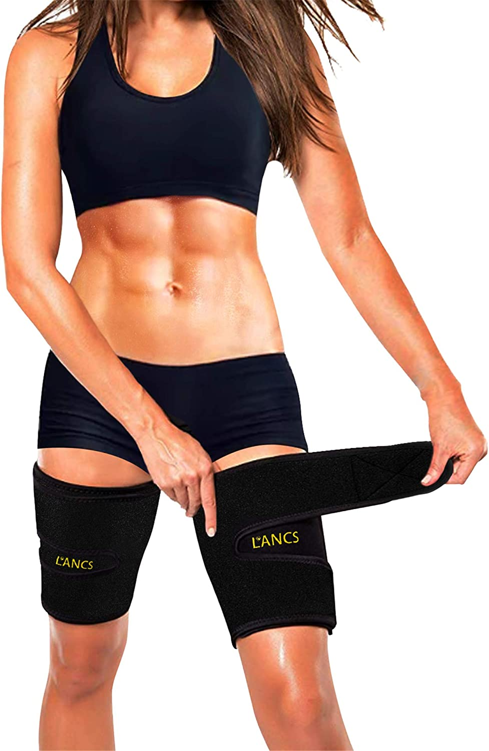 LANCS Arm and Thigh Trimmer Bands for Women and Men Weight Loss Sweat Arm and Thigh Slimmer Wraps