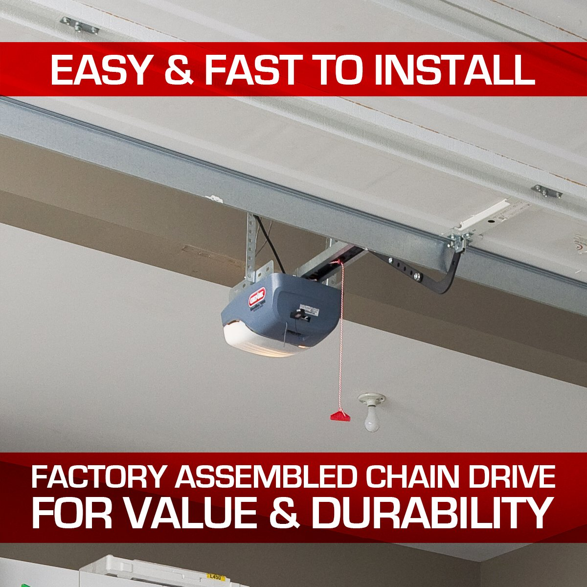 The ChainMax 1000 is an ideal option for residential garage doors that comes with many safety and security features.