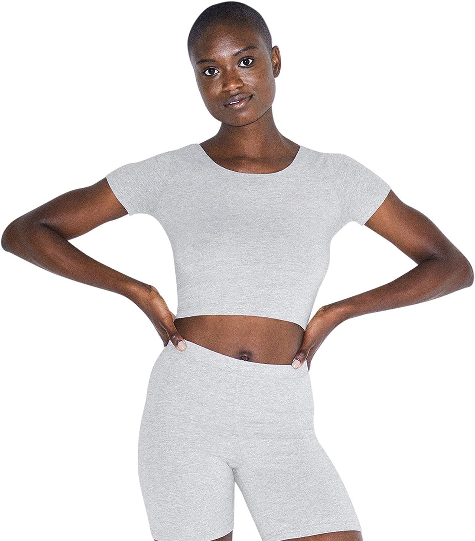 American Apparel Women's Cotton Spandex Jersey Short Sleeve Crop T-Shirt