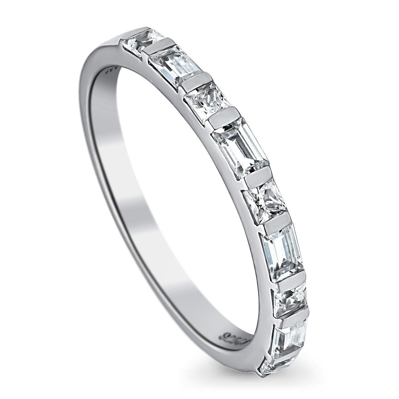 BERRICLE Rhodium Plated Silver Princess Cut Cubic Zirconia CZ Art Deco Half Eternity Ring Size 7