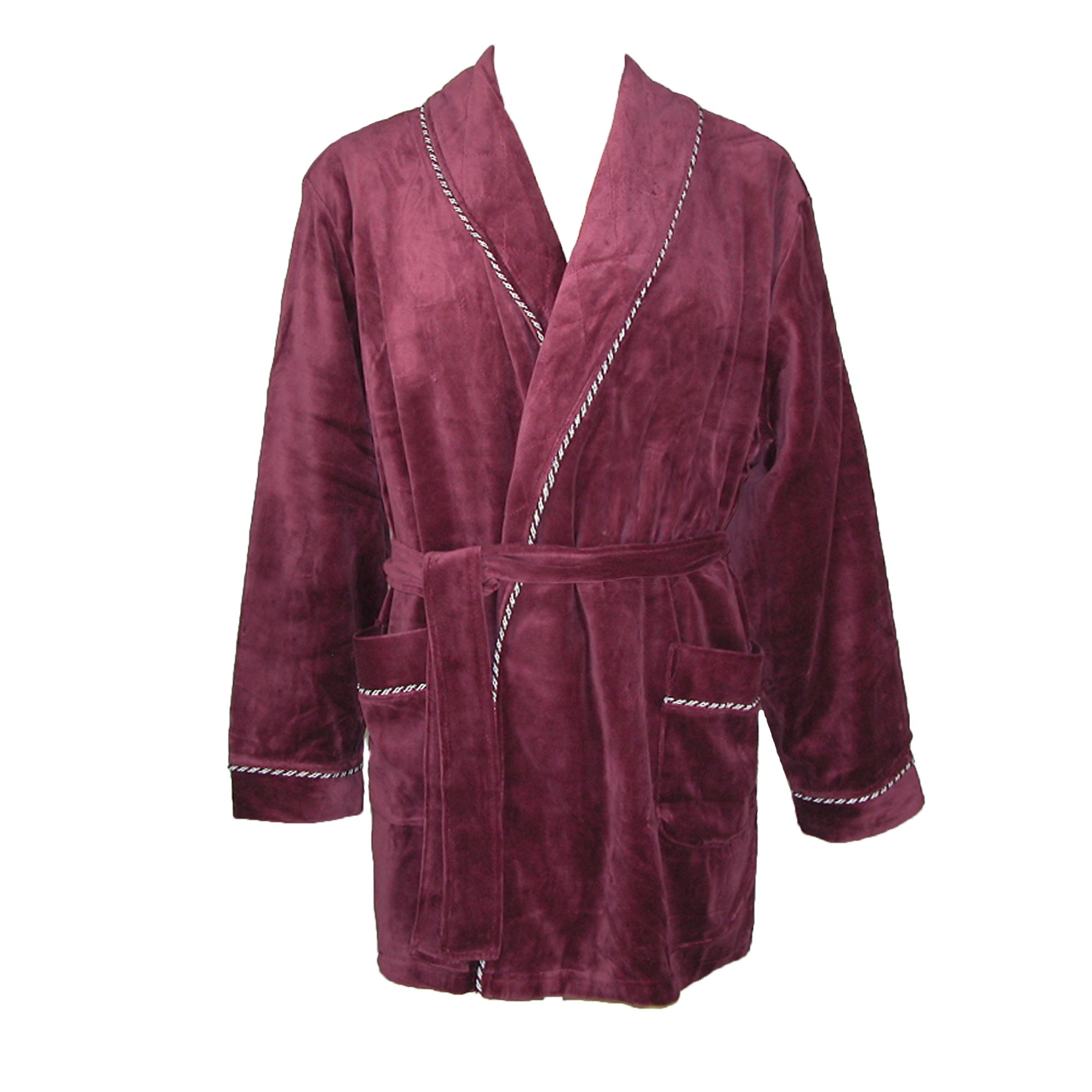 Majestic International Men's Satin Lined Smoking Jacket, Small / Medium, Merlot by Majestic International