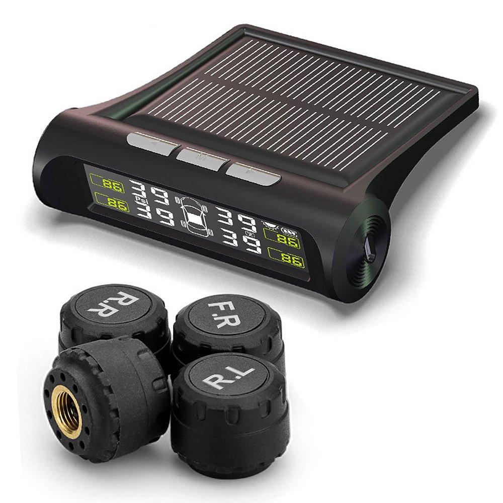 TUTUO TPMS Sistema de Monitoreo de Presi/ón de Neum/áticos Universal Energ/ía Solar LCD Monitor Tiempo Real Medidor de Presi/ón y Temperatura de los Neum/áticos con 4 Sensores Externos