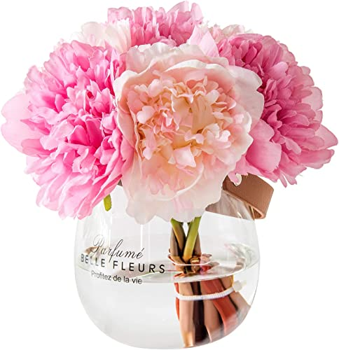 Billibobbi ,Artificial Flowers with Vase, Fake Silk Peony Flowers in Glass Vase, for Home Wedding Office Decoration, Mistyrose and Pink, Medium Wide Vase